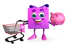 Gift Box Character with trolley Stock Photos