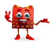 Gift Box Character with victory sign Stock Photography