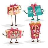 Gift box characters set. Different colors and emotions mascots. Birthday, Christmas and party symbols collection. Vector illustrations isolated on white Royalty Free Stock Photography