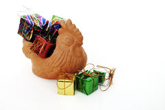 Gift box in chicken sculpture Stock Photos