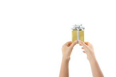 Gift box in child hand. Royalty Free Stock Photography