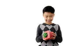 Gift box in child hand. Royalty Free Stock Photos