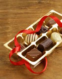 Gift box of chocolate candies Royalty Free Stock Photos