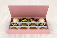 Gift box with chocolate candies Royalty Free Stock Images