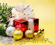 Gift box and christmas ball. Stock Photography