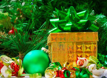 Gift box and Christmas ball - holiday's concept Royalty Free Stock Images