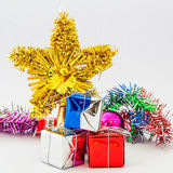 Gift box and christmas ball isolated on white Royalty Free Stock Image