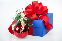 Gift box with christmas ball Royalty Free Stock Photos