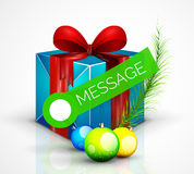 Gift box with Christmas ball toys, vector Royalty Free Stock Images