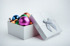 Gift box with christmas balls Stock Image