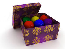 Gift box and christmas balls Royalty Free Stock Photo
