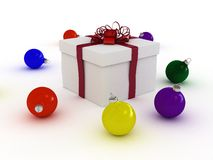 Gift box and christmas balls Stock Photo