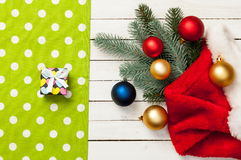 Gift box and christmas baubles Royalty Free Stock Photography