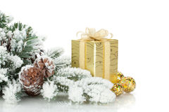 Gift box, christmas decor and snowy fir tree Stock Image