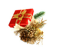 Gift Box and Christmas decoration Royalty Free Stock Photos