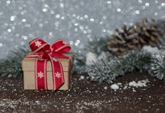 Gift box with Christmas decoration . Royalty Free Stock Photos