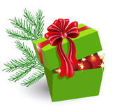 Gift box with Christmas decorations stock photo