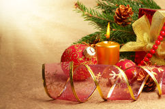 Gift box with christmas decorations Royalty Free Stock Images