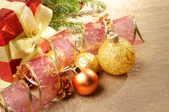 Gift box with christmas decorations Royalty Free Stock Photography