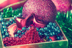 Gift box and Christmas decorations Royalty Free Stock Photography
