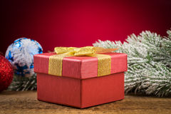 Gift box with christmas elements Royalty Free Stock Image