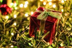 Gift Box Christmas and New year decorations, soft focus.  Stock Image