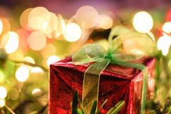 Gift Box Christmas and New year decorations, soft focus.  Royalty Free Stock Photography