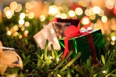 Gift Box Christmas and New year decorations, soft focus.  Stock Images