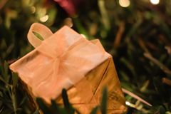 Gold Gift Box Christmas and New year decorations, soft focus. Gift Box Christmas and New year decorations, soft focus Stock Photos