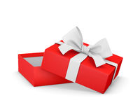 Gift. Box for Christmas, New Year's Day ,Opening red  box white ribbon background 3d rendering Royalty Free Stock Image