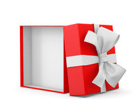 Gift. Box for Christmas, New Year's Day ,Opening red  box white ribbon background 3d rendering Stock Photo
