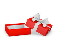 Gift. Box for Christmas, New Year's Day ,Opening red  box white ribbon background 3d rendering Royalty Free Stock Images