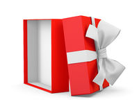 Gift. Box for Christmas, New Year's Day ,Opening red  box white ribbon background 3d rendering Royalty Free Stock Photography