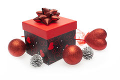 Gift box with christmas ornament Royalty Free Stock Photography
