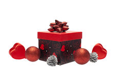 Gift box with christmas ornament Stock Images