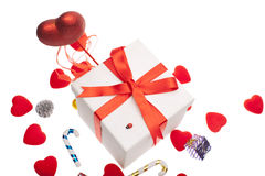 Gift box with christmas ornament Royalty Free Stock Photos