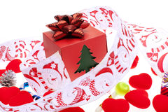 Gift box with christmas ornament Stock Photos