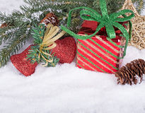 Gift Box and Christmas Ornaments Royalty Free Stock Photo