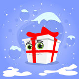 Gift Box Christmas Present Cartoon Character Red Royalty Free Stock Photos