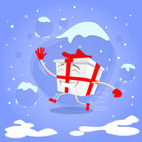 Gift Box Christmas Present Run Cartoon Character Royalty Free Stock Photo