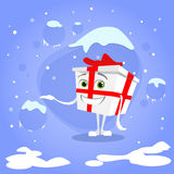 Gift Box Christmas Present Show Hand Side Empty Stock Photos