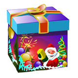 Gift box in Christmas style with Santa Claus Royalty Free Stock Photography