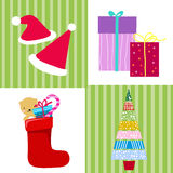 Gift box,christmas tree,candy and sock Stock Photography