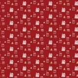 Gift box and Christmas tree pattern on red background. For gift wrapping paper Royalty Free Stock Photo