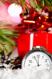 Gift box and clock Royalty Free Stock Photo