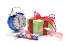 Gift Box and Clock Royalty Free Stock Image