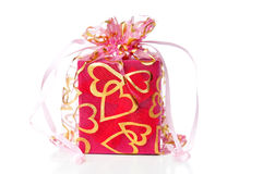 Gift box closeup. On white background royalty free stock photography