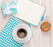 Gift box, coffee, cookies and notepad Royalty Free Stock Image