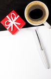 Gift box and coffee cup Stock Photo