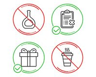 Gift box, Cognac bottle and Reject checklist icons set. Takeaway sign. Vector stock illustration
